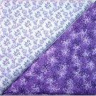 Purple Leaf Print n' Purple Floral - TWO Fat Quarters (2799)