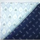 Navy Print n' Baby Blue Diamonds - TWO Fat Quarters (2800)