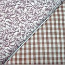 Brown Gingham n' Brown Floral Print - TWO Fat Quarters (2803)