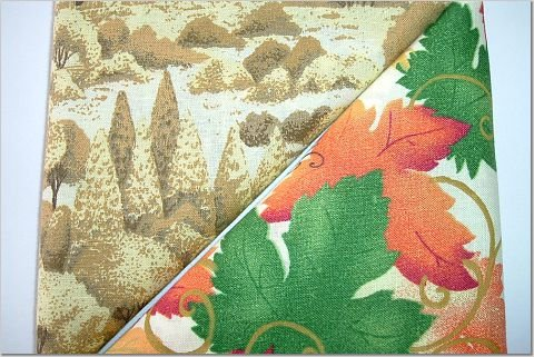 Trees n' Autumn Leaves Fall Print - TWO Fat Quarters (2804)