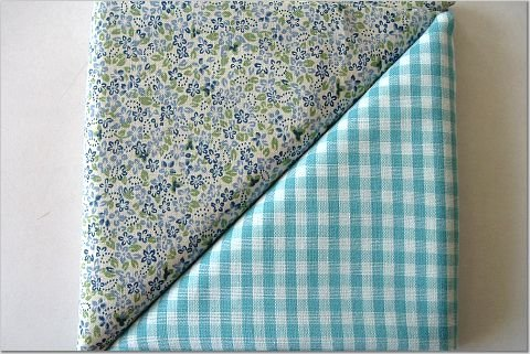 Turqoise Gingham n' Floral Print - Two FAT Quarters (2828)