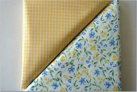 Yellow Gingham n' Yellow-Blue Floral Print - Two FAT Quarters (2833)