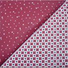 Burgandy-White Gingham with Navy Stars n' Burgandy Dot - TWO Fat Quarters (2834)