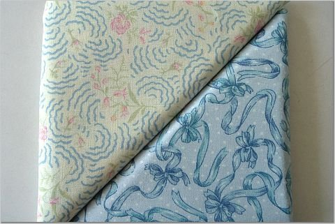 Blue Ribbons & Tiny Rosebud Print - TWO Fat Quarters (2838)