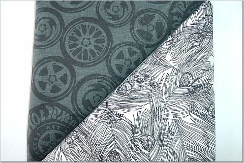 Black Peacock Feathers n' Hot Wheels Print - TWO Fat Quarters (2839)