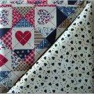 Patriotic Quilt w/Heart Print n' Hearts w/Dots - TWO Fat Quarters (2841)