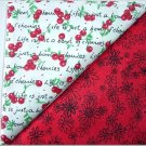Red w/Black Flowers n' Cherries Print - TWO Fat Quarters (2844)