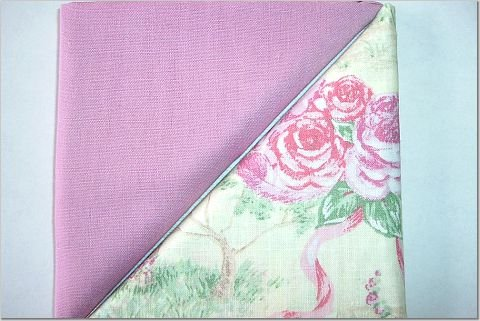 Cabbage Rose Cottage Print n' Solid Mauve - TWO Fat Quarters (2845)