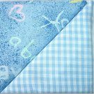 Baby Blue Gingham n' Blue Child Print - TWO Fat Quarters (2846)