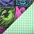 Green Gingham n' Halloween Neon Print - TWO Fat Quarters (2847)