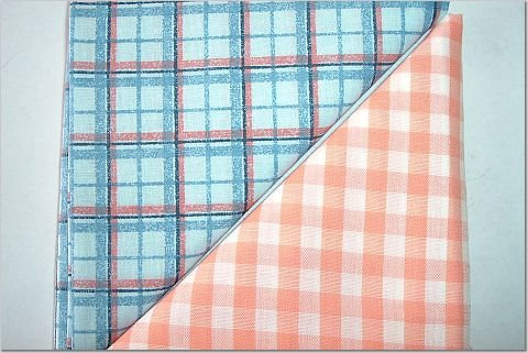 Orange Gingham n' Plaid Print - TWO Fat Quarters (2848)