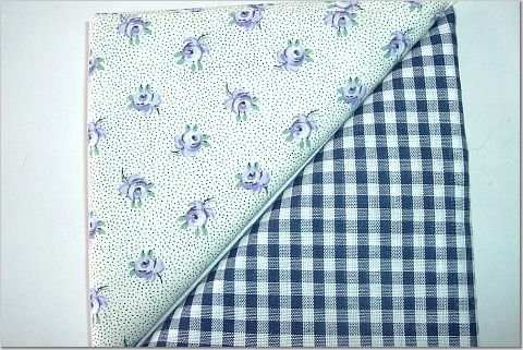 Navy Gingham n' Lavendar Rosebuds Print - Two FAT Quarters (2854)