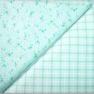 Mint Green Plaid n' Aqua Tiny Floral Print - TWO Fat Quarters (2855)
