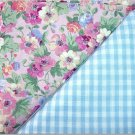 Baby Blue Gingham n' Floral Print - TWO Fat Quarters (2858)