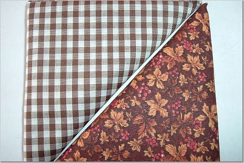Brown Gingham n' Brown Leaf w/Berries Print - TWO Fat Quarters (2859)