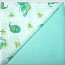 Aqua Teal Butterflies Print n' Solid Aqua - TWO Fat Quarters (2860)
