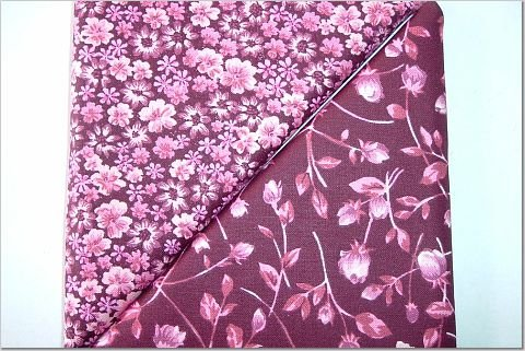 Tiny Pink Floral on Burgandy n' Matching Larger Floral Print - TWO Fat Quarters (2864)