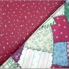 Crazy Quilt Patch Print n' Burnt Burgandy w/Dots - TWO Fat Quarters (2865)