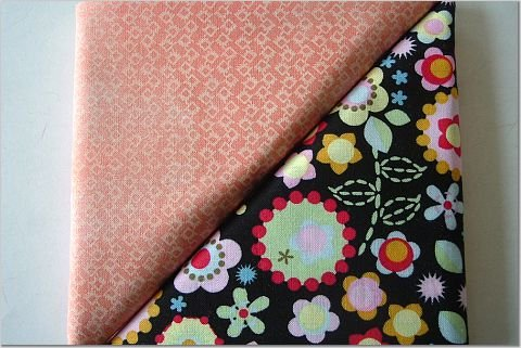 Floral Print On Black n' Orange Print - TWO Fat Quarters (2867)