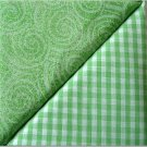 Green Gingham n' Swirl Print - TWO Fat Quarters (2871)