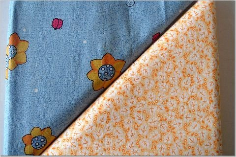 Orange Tiny Floral n' Ladybug Floral Print - TWO Fat Quarters (2872)