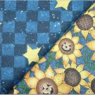 Halloween Sunflowers n' Navy Checker & Stars - TWO Fat Quarters (2873)