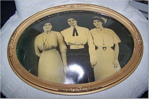 Framed TRIPLETS * Vintage Oval Glass