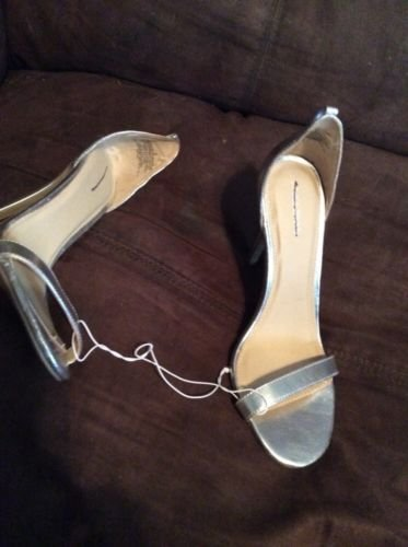 """XHILARATION BRAND Silver SYNTHETIC MATERIAL SIZE 6M 3"""" HEELS"""