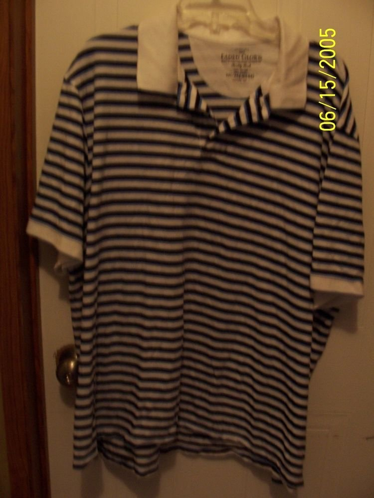 Faded Glory Big Mens Striped Polo Shirt ~ 3XLARGE 100% Cotton pre-owned