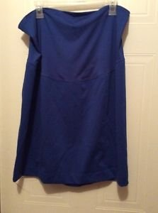 Liz Lange Maternity Women's Straight Pencil Royal Blue Belly Panel Skirt size XL