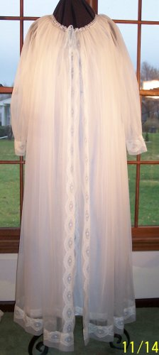 Mint condition vintage sheer ivory peignoir gown and robe