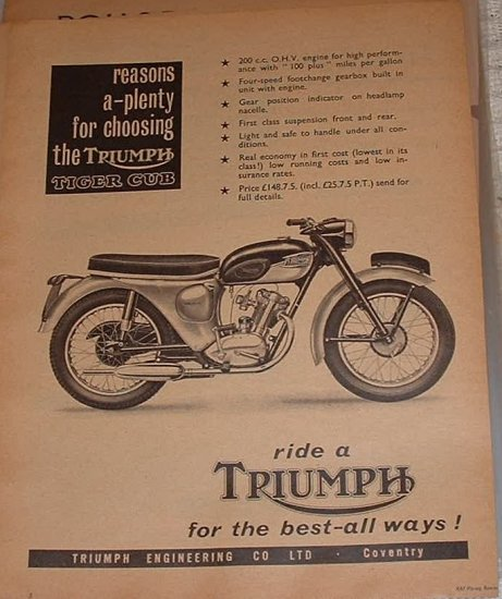 1960s Triumph motorcycle ad