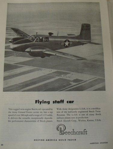1950s Beechcraft L-23 / Twin Bonanza ad