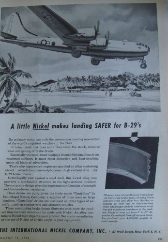 1940s WWII INCO International Nickel / Boeing B-29  Superfortress ad