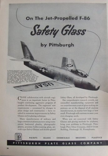 1950s Pittsburgh Plate Glass PPG / North American F-86 Sabre jet fighter ad
