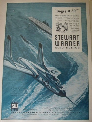 1950s Stewart-Warner Electronics / F7U Cutlass jet fighter ad