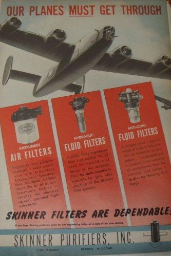 1940s WWII Skinner Air Purifiers B-24 Liberator ad