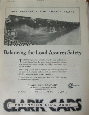 1926 Clark Cars Rilroad Dump Car ad