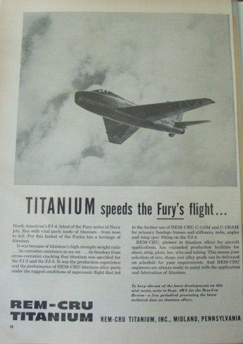 1950s Rem-Cru Titanium Midland Pennsylvania / North American FJ-4 Fury ad