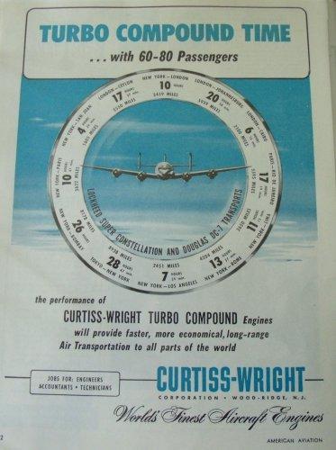 1950s Curtiss-Wright Turbo-Compound / Lockheed Super Constellation ad