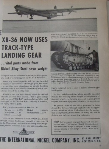 International Nickel / Convair XB-36 Peacemaker bomber ad