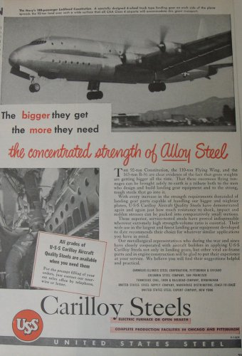 Carilloy Steels / Lockheed Constitution ad