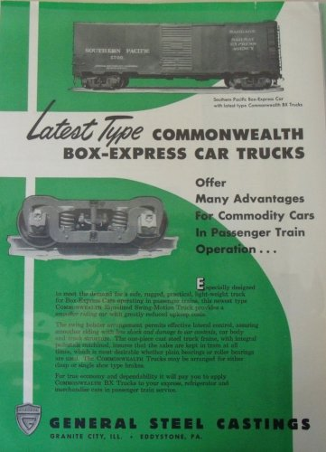 General Steel Castings / Southern Pacific Railway Express Agency Baggage Car ad