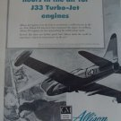 AllisonJ33 jet engine / Lockheed F-80 Shooting Star ad