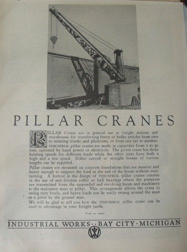 1920s Railroad Pillar Crane ad / Industrial Works Bay City Michigan