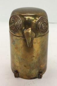 Vtg Mid Century Solid Brass Figural Owl Box Trinket Holder
