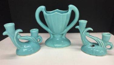 Vtg Camark Pottery Ceramic Vase Double Candleholders Robins Egg Blue Glaze
