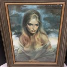 Vtg Vinciata Mid Century Framed Print Girl Of Valdarno Partial Nudity 18x24