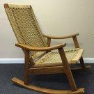 VTG Danish Modern Rope Rocking Chair Mid Century Eames Era Yugoslavia