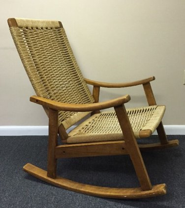 VTG Danish Modern Rope Rocking Chair Mid Century Eames Era Yugoslavia